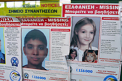© Licensed to London News Pictures. 12/08/2013<br /> The search still continues for missing Madeleine McCann.<br /> Madeleine Mc Cann missing poster at Kafalonia Airport, Greece (11.08.2013).<br /> Photo credit :Grant Falvey/LNP