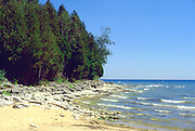 Shoreline along the Great Lake Michigan.  Door County Wisconsin USA
