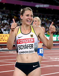 Germany's Carolin Schafer (left) celebrates winning silver after the 800m element of the Women's Heptathlon during day three of the 2017 IAAF World Championships at the London Stadium.