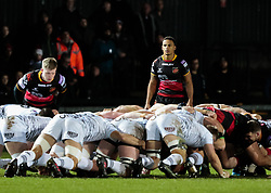 Dragons' Ashton Hewitt looks on during a scrum<br /> <br /> Photographer Simon King/Replay Images<br /> <br /> Guinness Pro14 Round 12 - Dragons v Cardiff Blues - Sunday 31st December 2017 - Rodney Parade - Newport<br /> <br /> World Copyright © 2017 Replay Images. All rights reserved. info@replayimages.co.uk - http://replayimages.co.uk