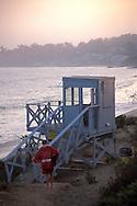 Lifeguard lookout station over coastal sand beach Malibu, Los Angeles County, California
