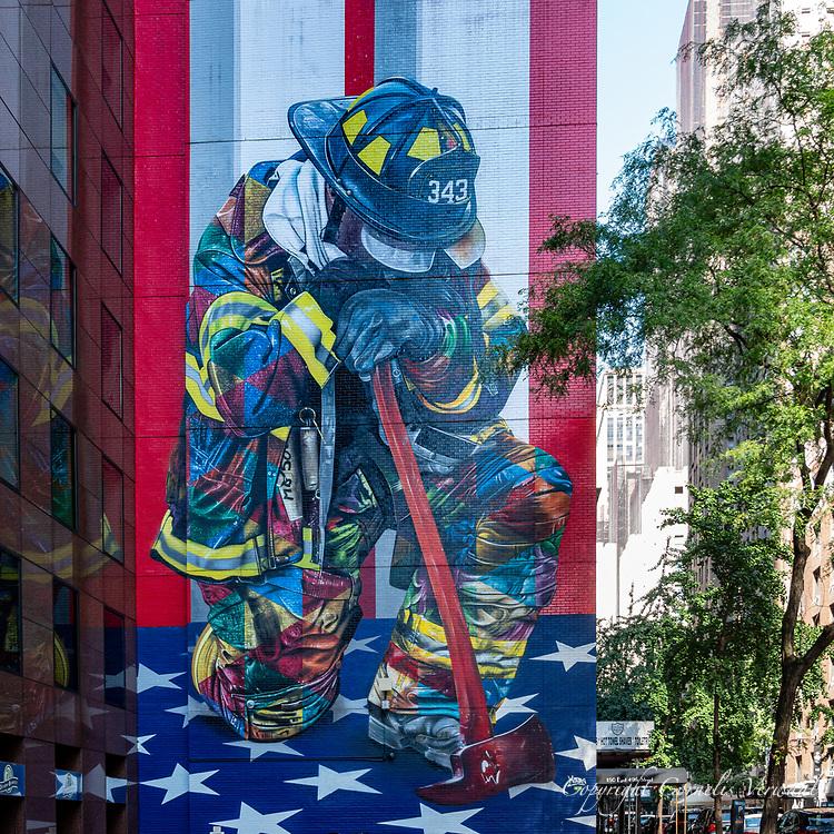 """The Braves of 9/11"" by Brazilian artist Eduardo Kobra known is ""Kobra""  ; Third Ave at 49th St."