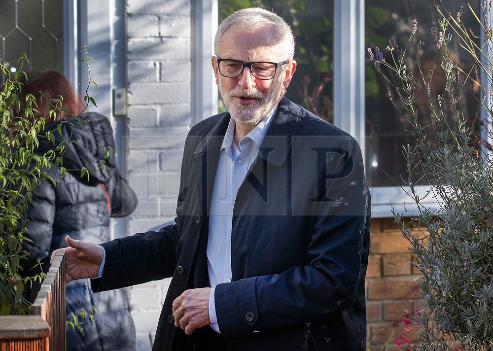 © Licensed to London News Pictures. 14/12/2019. London, UK. Labour Party Leader Jeremy Corbyn leaves his home on the day after the election. The Conservative Party have won an 80 seat majority in the general election. Mr Corbyn has said he will stand down when a new leader is elected. Photo credit: Peter Macdiarmid/LNP