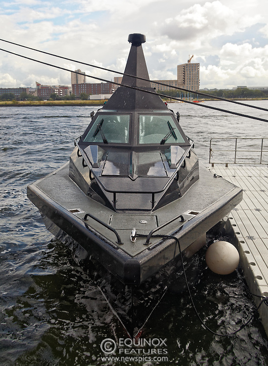 London, United Kingdom - 18 September 2015<br /> Safehaven Marine demonstrate their SV11 Barracuda stealth boat with front mounted retractable gun and radar avoidance technology at Operation MARICAP waterborne demonstration at the defence and security exhibition DSEI at ExCeL, Woolwich, London, England, UK.<br /> (photo by: EQUINOXFEATURES.COM)<br /> <br /> Picture Data:<br /> Photographer: Equinox Features<br /> Copyright: ©2015 Equinox Licensing Ltd. +448700 780000<br /> Contact: Equinox Features<br /> Date Taken: 20150918<br /> Time Taken: 14443353<br /> www.newspics.com
