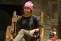 November 23, 2018 - Killington, Vermont, United States - WENDY HOLDENER of Switzerland chats with the media before the Killington Cup ski races. (Credit Image: © Christopher Levy/ZUMA Wire)