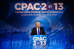 "March 15, 2013 - National Harbor, Maryland, U.S. - DONALD TRUMP speaks at the 2013 Conservative Political Action Conference (CPAC) being held at held at the Gaylord National Resort & Convention Center in National Harbor, Md. near Washington D.C. This year's theme is ""America's Future: The Next Generation of Conservatives. New Challenges, Timeless Principles, (Credit Image: © Pete Marovich/ZUMAPRESS.com)"