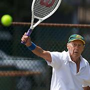 Harward Hillier, Australia, winning the 80 Mens Singles Final during the 2009 ITF Super-Seniors World Team and Individual Championships at Perth, Western Australia, between 2-15th November, 2009.