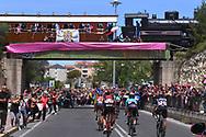 Landscape, Peloton, Train, Bridge, Fans, Public, Pink, during the 100th Tour of Italy 2017, Giro d'Italia, Stage 1, Alghero - Olbia (206km), on May 5, in Sardegna, Italy - Photo Tim De Waele / ProSportsImages / DPPI
