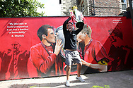 The Hendo celebration makes it to Anfield  as fans celebrate outside the stadium and through the city before and during the Premier League match between Liverpool and Aston Villa at Anfield, Liverpool, England on 5 July 2020.