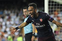 May 9, 2019 - Valencia, Valencia, Spain - Aubameyang of Arsenal celebrating a goal during UEFA Europa League football match, between Valencia and Arsenal, May 09th, in Mestalla stadium in Valencia, Spain. (Credit Image: © AFP7 via ZUMA Wire)