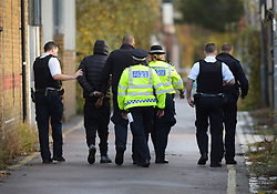© Licensed to London News Pictures. 12/11/2017. London, UK. Police detain a man in Connaught Lane at about 10.30am today near where a man was murdered in High Road, Ilford. It is not known if he is connected with the murder. At 02:48 this morning, police were called to the scene, where a man had been beaten by a group of men with what is thought to have been baseball bats. The man was taken to an east London hospital by London Ambulance Service where he died at 04:35 Photo credit: Steve Poston/LNP
