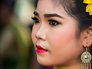 30 NOVEMBER 2014 - LOPBURI, LOPBURI, THAILAND:  Dancers prepare to go on stage at the annual monkey buffet party in Lopburi. Lopburi is the capital of Lopburi province and is about 180 kilometers from Bangkok. Lopburi is home to thousands of Long Tailed Macaque monkeys. A regular sized adult is 38 to 55cm long and its tail is typically 40 to 65cm. Male macaques weigh around 5 to 9 kilos, females weigh approximately 3 to 6 kg. The Monkey Buffet was started in the 1980s by a local business man who owned a hotel and wanted to attract visitors to the provincial town. The annual event draws thousands of tourists to the town.   PHOTO BY JACK KURTZ