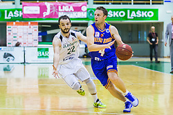 Daniel Vujasinovic of KK Zlatorog and Jure Mocnik of KK Helios Suns during basketball match between KK Zlatorog and KK Helios Suns in 1st match of Nova KBM Slovenian Champions League Final 2015/16 on May 29, 2016  in Dvorana Zlatorog, Lasko, Slovenia.  Photo by Ziga Zupan / Sportida