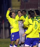 21/07/04 - LIMA - PERU - COPA AMERICA PERU 2004 - AMERICAN CUP - semifinal match.<br /> BRASIL - BRAZIL win by penalty over  URUGUAY - <br />Brazilian N*19 DIEGO - Gk N*1 JULIO CESAR 0 N*4 juan CELEBRATING THE VICTORY.<br />© F.G. / Argenpress.com