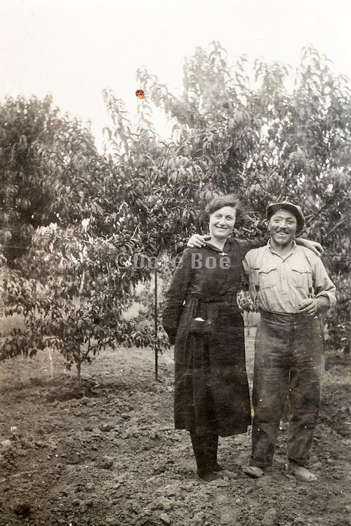 vintage happy smiling couple portrait 1933 France