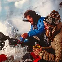 Snow cave on Baruntse Peak, 1980