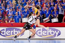 Andrea Lekic of Krim vs Camille Ayglon of Metz at handball match of Round 5 of Champions League between RK Krim Mercator and Metz Handball, France, on January 9, 2010 in Kodeljevo, Ljubljana, Slovenia. (Photo by Vid Ponikvar / Sportida)