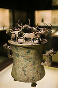 Bronze Han Dynasty cowrie container with yaks and lion decorations, on display in the Shanghai Museum, China