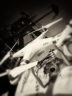 Blacka nd white photo of a DJI Phantom 3 Pro drone