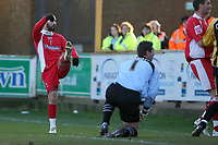 Photo: Pete Lorence.<br />Boston United v Swindon Town. Coca Cola League 2. 20/01/2007.<br />Christian Roberts slams the ball into the back of the net.