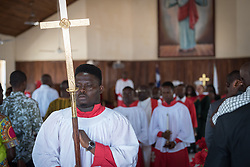 3 November 2019, Monrovia, Liberia: Procession exits the church after Sunday service at Saint Andrew Lutheran Parish in Monrovia. Part of the Lutheran Church in Liberia, the parish gathers some 220 members for prayer each week.
