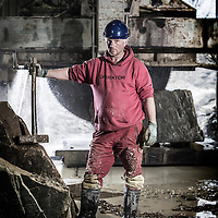 December 2016 - A stonecutter and quarryman at work in West Yorkshire cutting York sandstone