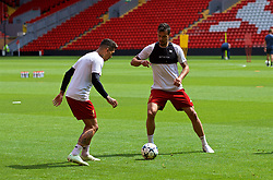 LIVERPOOL, ENGLAND - Monday, May 21, 2018: Liverpool's Roberto Firmino and Dejan Lovren during a training session at Anfield ahead of the UEFA Champions League Final match between Real Madrid CF and Liverpool FC. (Pic by Paul Greenwood/Propaganda)