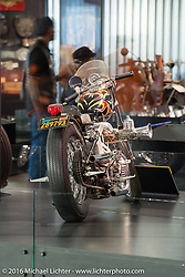 """Randy Smith's (Custom Cycle Engineering) Magnum custom from the late 1960's melded a 45"""" Flathead bottom end with a Sportster top end. On display at the Harley-Davidson Museum during the Milwaukee Rally. Milwaukee, WI, USA. Saturday, September 3, 2016. Photography ©2016 Michael Lichter."""