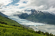 Overlooking Spencer Glacier in Chugach National Forest in Southcentral Alaska. Summer. Morning.