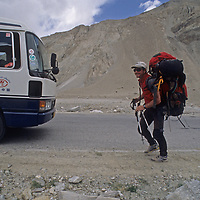 Mark Newcomb sets off for an unofficial first ascent in the Pamir Mountains in Xinjiang, China.