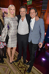 "Left to right, AMANDA CRONIN, MARK HIX and STEPHEN WEBSTER at the presentation of Le Prix Champagne De La Joie de Vivre to Stephen Webster in celebration of his long standing contribution to ""Joie de Vivre' held at the Council Room, One Great George Street, London on 22nd April 2015."