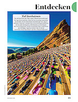 "Yoga on the Rocks featured in ""Myself Magazine"" in Germany, photo by Blaine Harrington III"