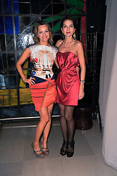 Left to right, MARIA HATZISTEFANIS and YASMIN MILLS at the 2nd Rodial Beautiful Awards in aid of the Hoping Foundation held at The Sanderson Hotel, 50 Berners Street, London on 1st February 2011.