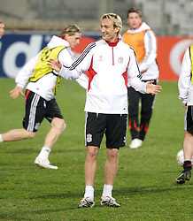 MARSEILLE, FRANCE - Monday, December 10, 2007: Liverpool's Sami Hyypia training at the Stade Velodrome ahead of the final UEFA Champions League Group A match against Olympique de Marseille. Liverpool must win to progress to the knock-out stage. (Photo by David Rawcliffe/Propaganda)