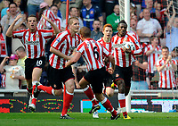 Football - Premier League - Sunderland vs. Wigan Athletic<br /> Asamoah Gyan (Sunderland) gets a goal to level the the score at the Stadium of Light.