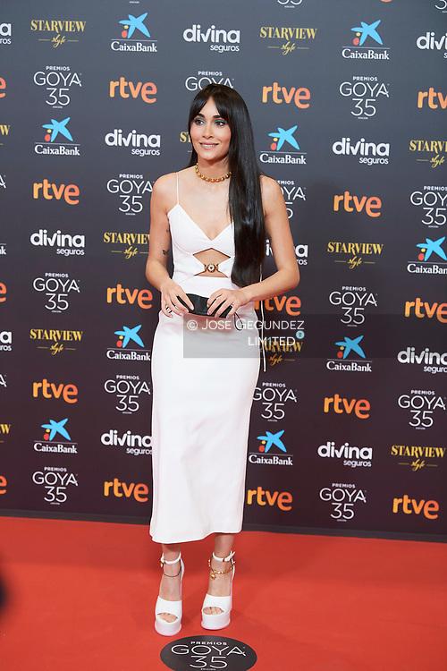 Aitana attends 35th Goya Cinema Awards 2021 - Red Carpet at Gran Hotel Miramar on March 6, 2021 in Malaga, Spain