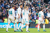 Real Madrid Carlos Henrique Casemiro, Raphael Varane, Luka Modric and Daniel Carvajal celebrating a goal during La Liga match between Real Madrid and R. C. Deportivo at Santiago Bernabeu Stadium in Madrid, Spain. January 18, 2018. (ALTERPHOTOS/Borja B.Hojas)