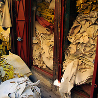 Africa, Morocco, Fes. Piled leather hides in Fes souk.