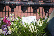 A remembrance note positioned in some flowers In memory of Prince Philip The Royal Highness the Duke of Edinburgh, London on 9 April 2021.