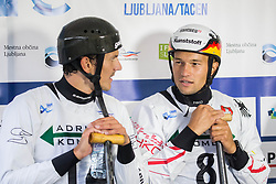 Anze Bercic of Slovenia and Franz Anton of Germany  during Canoe Single (C1) Men Final race of 2018 ICF Canoe Slalom World Cup 4, on September 1, 2018 in Tacen, Ljubljana, Slovenia. Photo by Vid Ponikvar / Sportida