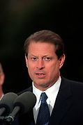 U.S Vice President Al Gore speaks in support of President Clinton outside the White House following the impeachment vote December 19, 1998 in Washington, DC.  The US House of Representatives impeached Clinton on charges of perjury and obstruction of justice. Clinton rejected calls for his resignation and vowed to continue in office.