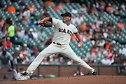 San Francisco Giants starting pitcher Matt Moore (45) pitches against the Colorado Rockies at AT&T Park in San Francisco, California, on September 20, 2017. (Stan Olszewski/Special to S.F. Examiner)