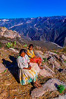 Tarahumara Indian sisters, Urique Canyon, the deepest canyon in the Sierra Tarahumara at 6,200 feet, is one of six distinct canyons that make up the Copper Canyon (Barranca del Cobre), Chihuahua, Mexico