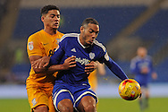 Cardiff City's Kenneth Zohore (r) shields the ball from Preston's Tyias Browning. EFL Skybet championship match, Cardiff city v Preston North End at the Cardiff City stadium in Cardiff, South Wales on Tuesday 31st January 2017.<br /> pic by Carl Robertson, Andrew Orchard sports photography.