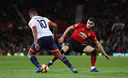 Bournemouth's Jordon Ibe (left) and Manchester United's Andreas Pereira battle for the ball during the Premier League match at Old Trafford, Manchester.
