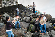 Mumbai, India, 24 sept 2016, A group of youngster is having their photo at the beach