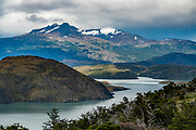 Lake Nordenskjöld, seen from Sendero Paso Los Cuernos, in Torres del Paine National Park, Ultima Esperanza Province, Chile, Patagonia, South America. The Park is listed as a World Biosphere Reserve by UNESCO.