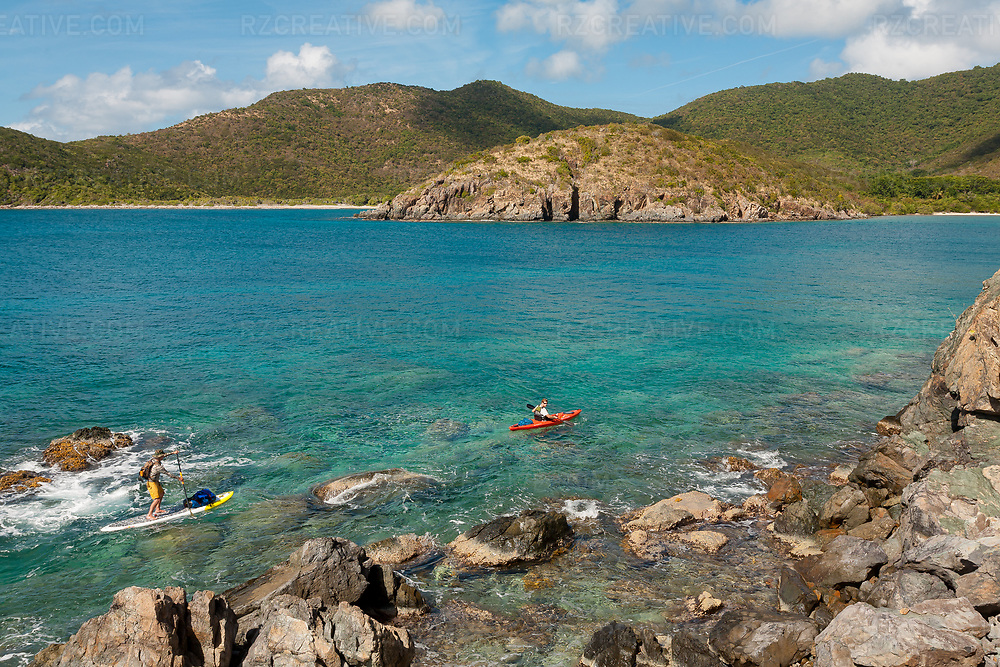 Ted Rutherford and Mark Anders paddling in Little Lameshur Bay, St. John, USVI. Photo © Robert Zaleski / rzcreative.com<br /> —<br /> To license this image for editorial or commercial use, please contact Robert@rzcreative.com