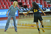 March 17, 2016: Arizona State Sun Devils head coach Charli Turner-Thorne exchanges a low five with Arizona State Sun Devils guard Elisha Davis (23) during the first practice day of the 2016 NCAA Division I Women's Basketball Championship first round in Tempe, Ariz.