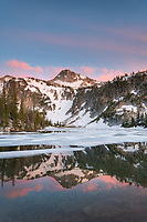 Alpenglow over Eagle Cap reflected in Mirror Lake, Eagle Cap Wilderness, Wallowa Mountains, Oregon